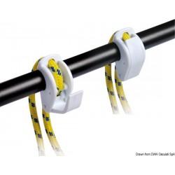 Dispositif en nylon blanc pour fixer et régler en hauteur les pare-battages, sans noeuds.