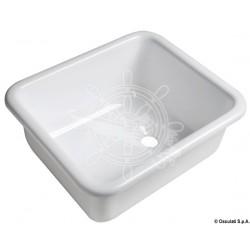 Évier rectangulaire en plexiglas brillant blanc
